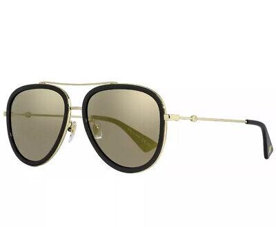 BRAND NEW AUTHENTIC Gucci GG0062S 001 Black Gold Metal Sunglasses Gold (Gucci Gg0062s)