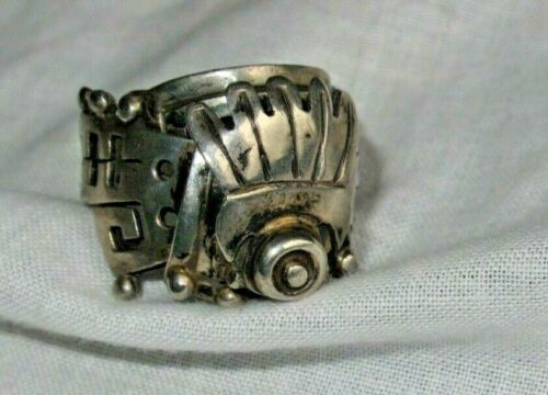 Vintage Sterling Silver Taxco Mexico VOO Eagle 3 Poison Pill Ring Size 11 (id384