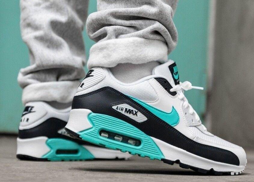 Nike Mens Air Max 90 Essential Running Shoes WhiteAurora GreenObsidian AJ1285 102 Size 11