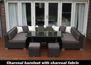 WICKER LOUNGE DINER SETTING 7 CONFIGURATIONS, EUROPEAN STYLED, B/NEW
