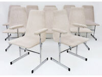 Pieff, Lisse dining chairs x 10. Flat bar chrome 70s 60s vintage ( includes two carvers) Manchester