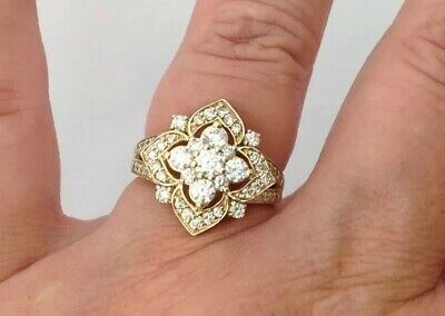 QVC 9ct Gold White Sapphire Ring Size L