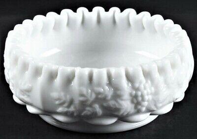 Antique Vintage Art Glass Candy Dish Bowl Ruffled Grape Milk Glass Wedding Gift
