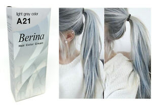 Berina A21 Light Grey Silver Permanent Hair Dye Color Cream Unisex - Punk Style