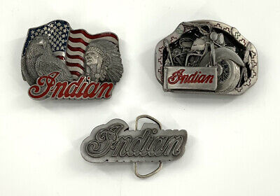 Lot of 3 Indian Motorcycle Co. Vintage Belt Buckle Made In USA