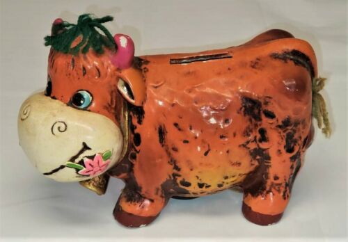 Vintage Coin Piggy Bank Paper Mache Savings Animal Dairy Cow Multicolor 60