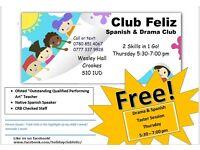 Free Spanish & Drama taster class for children 5-11 yrs