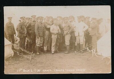 Somerset Military 1st Light Infantry at camp taking orders used 1910 RP PPC
