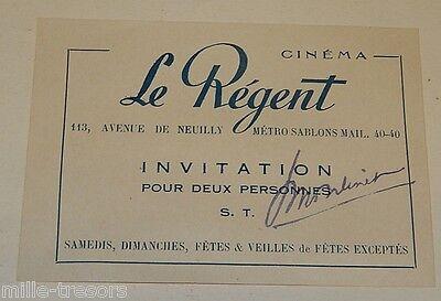 Movie Themed Invitations (COLLECTOR sur le thème : Ancienne INVITATION 2 personnes au CINEMA le)