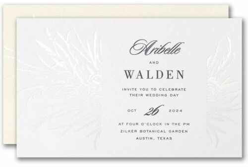 Personalized Wedding Invitations Pearl Foil Rose Bouquet Thermography Printing