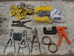 Assorted cattle processing items