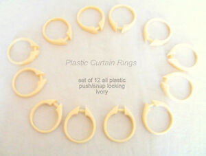 12 plastic curtain rings, sliding/snap lock, white or ivory