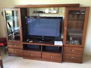 3 piece entertainment centre with glass door end cabinets