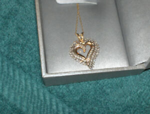 2 Fine Gold Chains & 1 Gold & Diamond Pendent