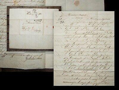 1825 Thies Pinkert Geschäftsbrief von Hamburg nach Leipzig Handschrift