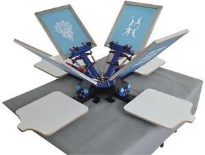 360° Rotary 4Color 4Station Fix On Table Single Rotate Silk Screen Printing Machine T-Shirt DIY Equipment 219003