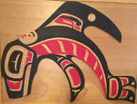 "Original Norman Tait cedar wall plaque ""Killer Whale and Human"""