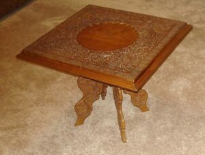 Antique Asian Carved Wooden Folding End Table