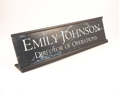 Personalized Desk Name plate black marble look with black aluminum holder 2x8