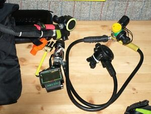 Complete scuba gear set except tank and weights.