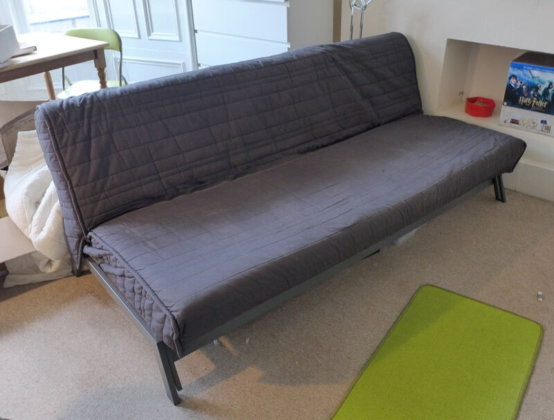 Large ikea karlaby sofa bed dark grey 3 seat double bed for Grey double divan bed