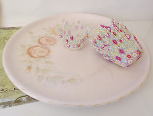 Large Cake Platter - Hand Painted Roses