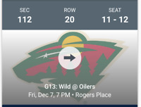 Cheap Oilers Tickets Dec 7 vs Minnesota