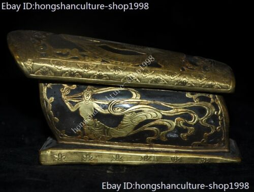 Tibet Buddhism crystal Inlay bronze 24k gold gilt Rulai Sakyamuni coffin statue