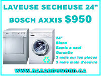"""Ensemble Laveuse Secheuse Bosch Axxis 24"""" remis a neuf $950.00"""