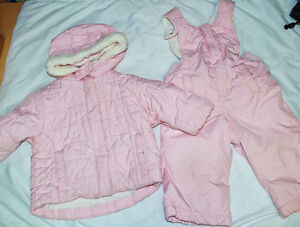 Jacket +Snow pants Baby Girl 6-12 month Winter Outfit Light Pink