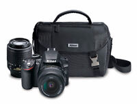 Nikon D3200 DSLR Camera with 18-55mm and 55-200mm lenses