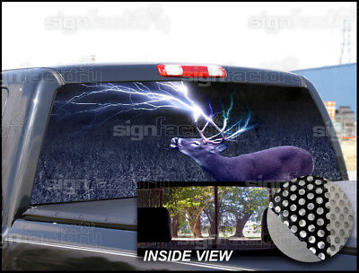 P229 Deer Lightning Hunting Rear  Window Tint Graphic Decal Wrap Back Pickup ()
