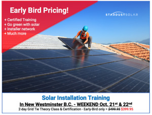 Solar installation with certification - Oct. 21-22 Weekend