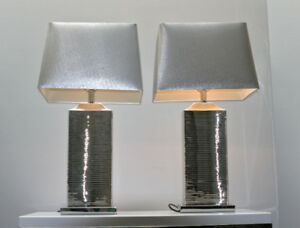 Silver/Chrome/Grey Table Lamps, Set of 2