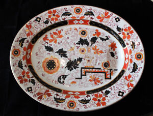 Antique Ashworth Bros China Ironstone Imari Gravy Well Platter