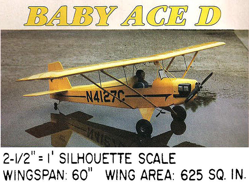 """Model Airplane Plans RC Model D : Corben Baby Ace 60/"""" Silhouette Scale"""