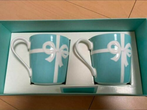 Tiffany Co Blue Ribbon Porcelain Mug 2 Cup Gift Present Authentic genuine Coffee