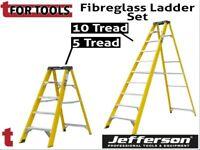 Jefferson 5 & 10 Tread Fibreglass Step Ladder Builders Electricians