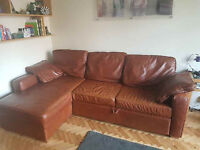 Brown leather, sofa bed and storage