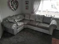 Chesterfield Glam Silver Crushed Velvet Corner Sofa Left/Hand with Diamonds