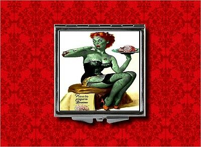 ZOMBIE PIN UP GIRL BRAINS HAND MAKEUP POCKET COMPACT MIRROR