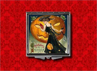 VINTAGE HALLOWEEN WITCH PUMPKIN ART CARD MAKEUP POCKET COMPACT MIRROR (Halloween Witch Makeup)