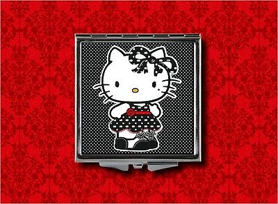 HELLO GOTH KITTY POLKA DOT ROCKABILLY MAKEUP POCKET COMPACT MIRROR