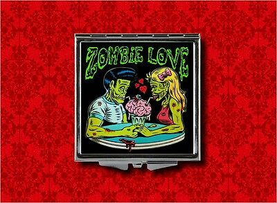 ZOMBIE LOVE ROCKABILLY COUPLE HAND MAKEUP POCKET COMPACT MIRROR