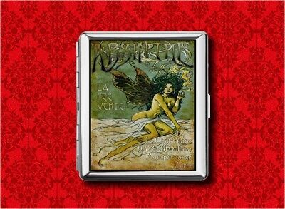 ABSINTHE GREEN FAIRY GIRL ALCOHOL METAL CARD STASH CIGARETTE ID IPOD CASE WALLET for sale  Shipping to Canada