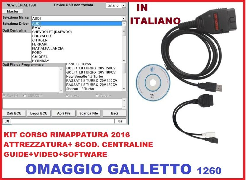 KIT CORSO COMPLETO GALLETTO 1260 MAPPARE CENTRALINE+VIDEO CORSI+SOFTWARE MAPPE
