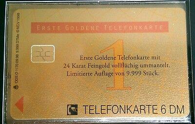 Erste goldene Telefonkarte aus 24 Karat Feingold limitierte Auflage von 9999 St. Gold Telefon