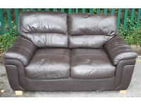 2 TWO PERSON BROWN LEATHER SOFA SETTEE - FREE TO COLLECT