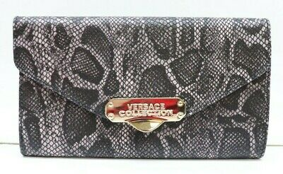 VERSACE COLLECTION Textured Snake Leather Continental Women Wallet
