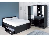 Brand New Carleton High Gloss 4FT6 Double Storage Bed with Drawers - Black